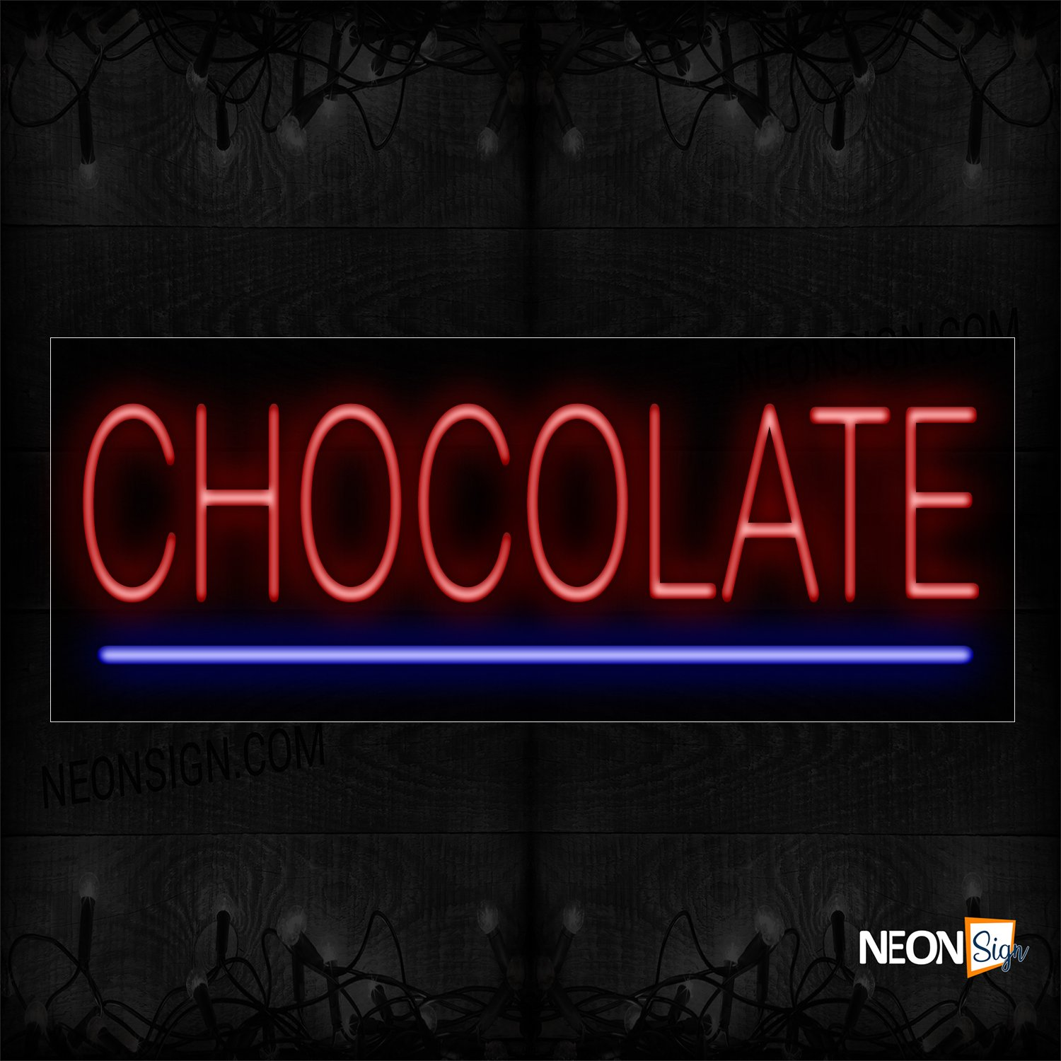 Image of 12361 Chocolate In Red With Blue Line Neon Sign_13x32 Black Backing