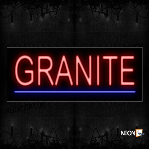 Image of 12373 Granite In Red With Blue Line Neon Sign_10x24 Black Backing