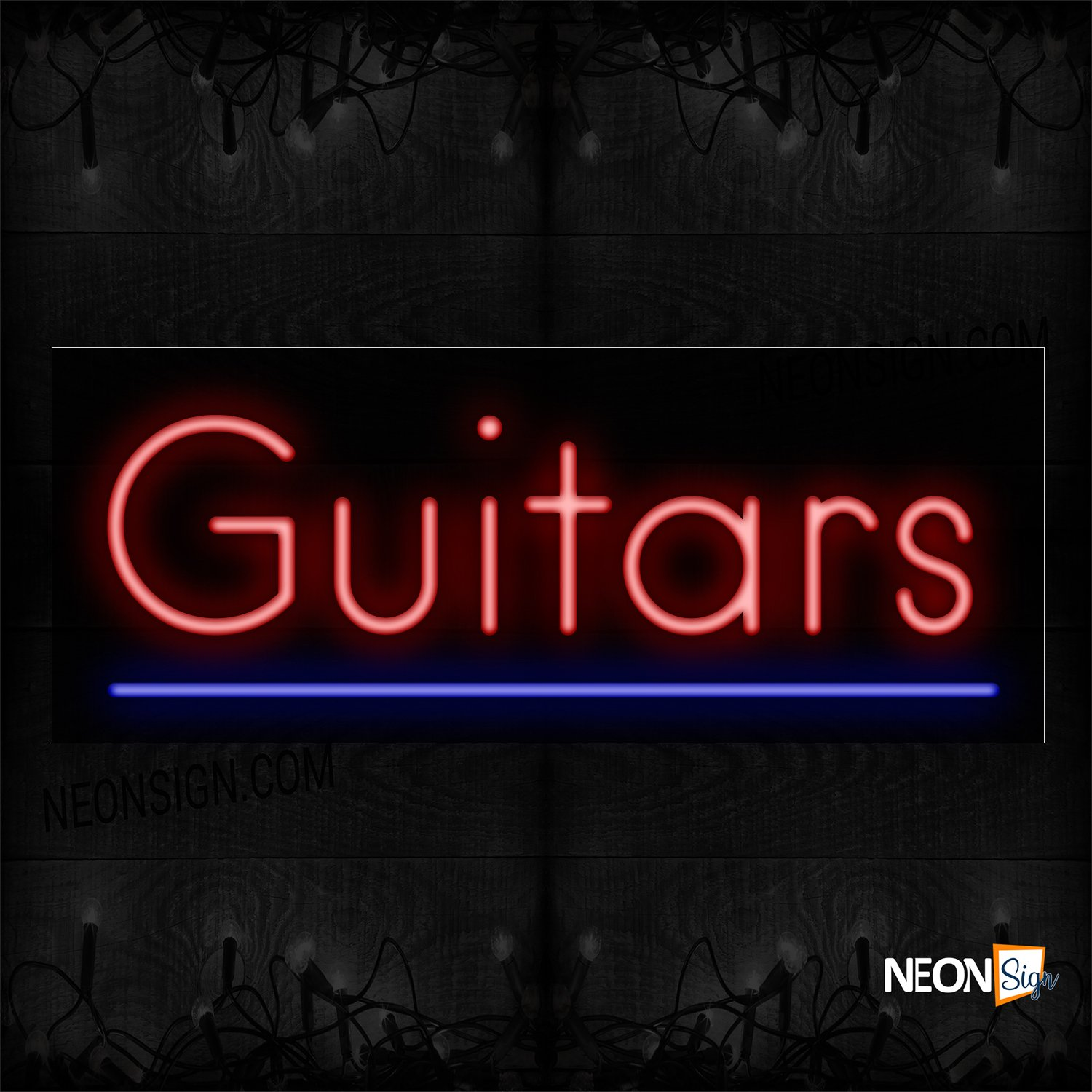 Image of 12374 Guitars With Underline Neon Sign_10x24 Black Backing