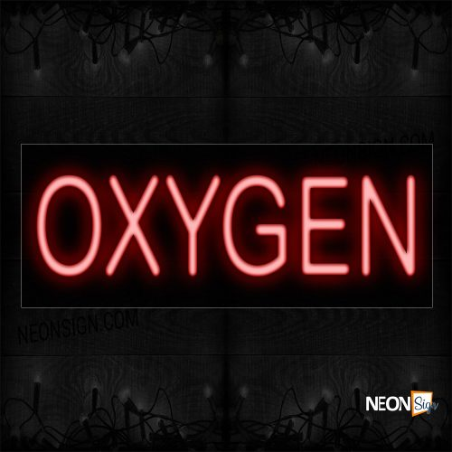 Image of 12390 Oxygen On All Caps Simple Red Text Traditional Neon_10x24 Black Backing