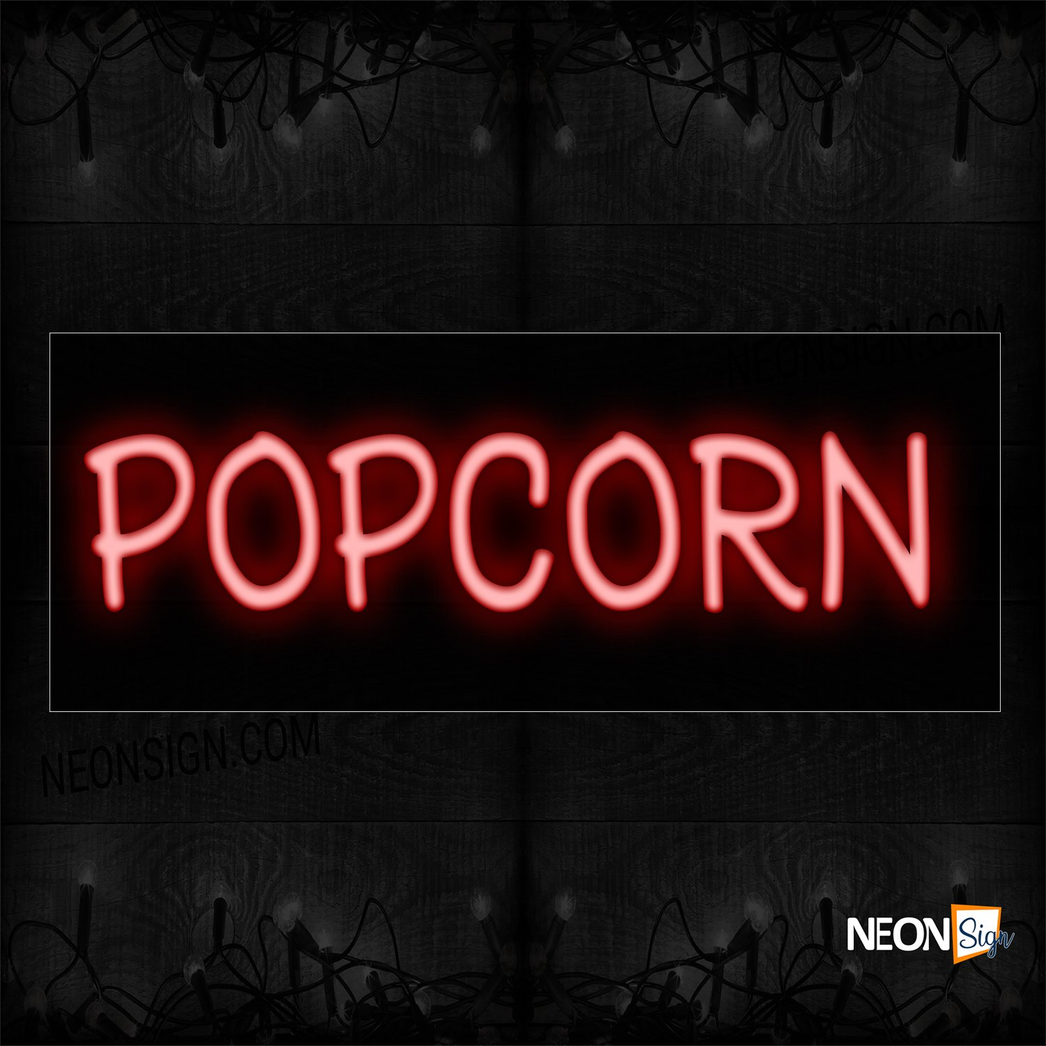Image of 12392 Popcorn In Red Neon Sign_10x24 Black Backing