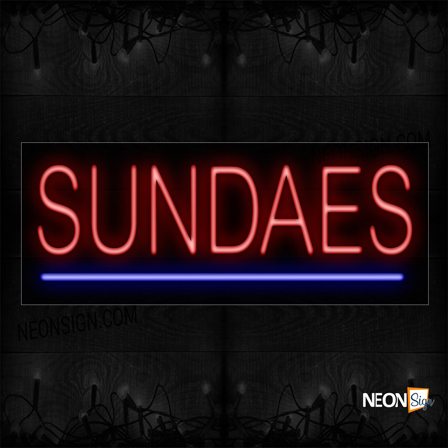 Image of 12398 Sundaes With Underline Neon Sign_13x32 Black Backing