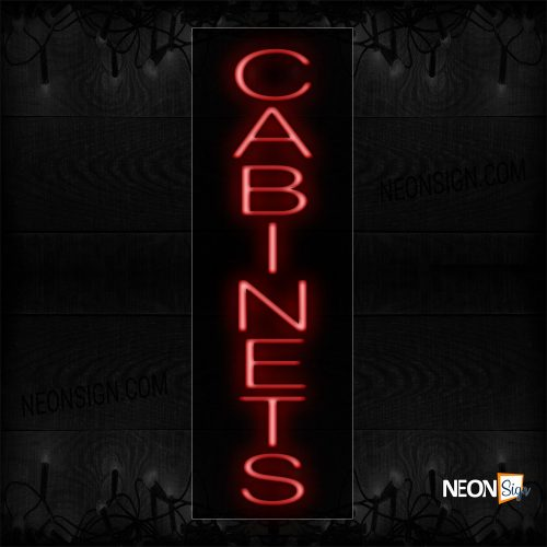 Image of 12418 Cabinet In Red (Vertical) Neon Sign_8x27 Black Backing