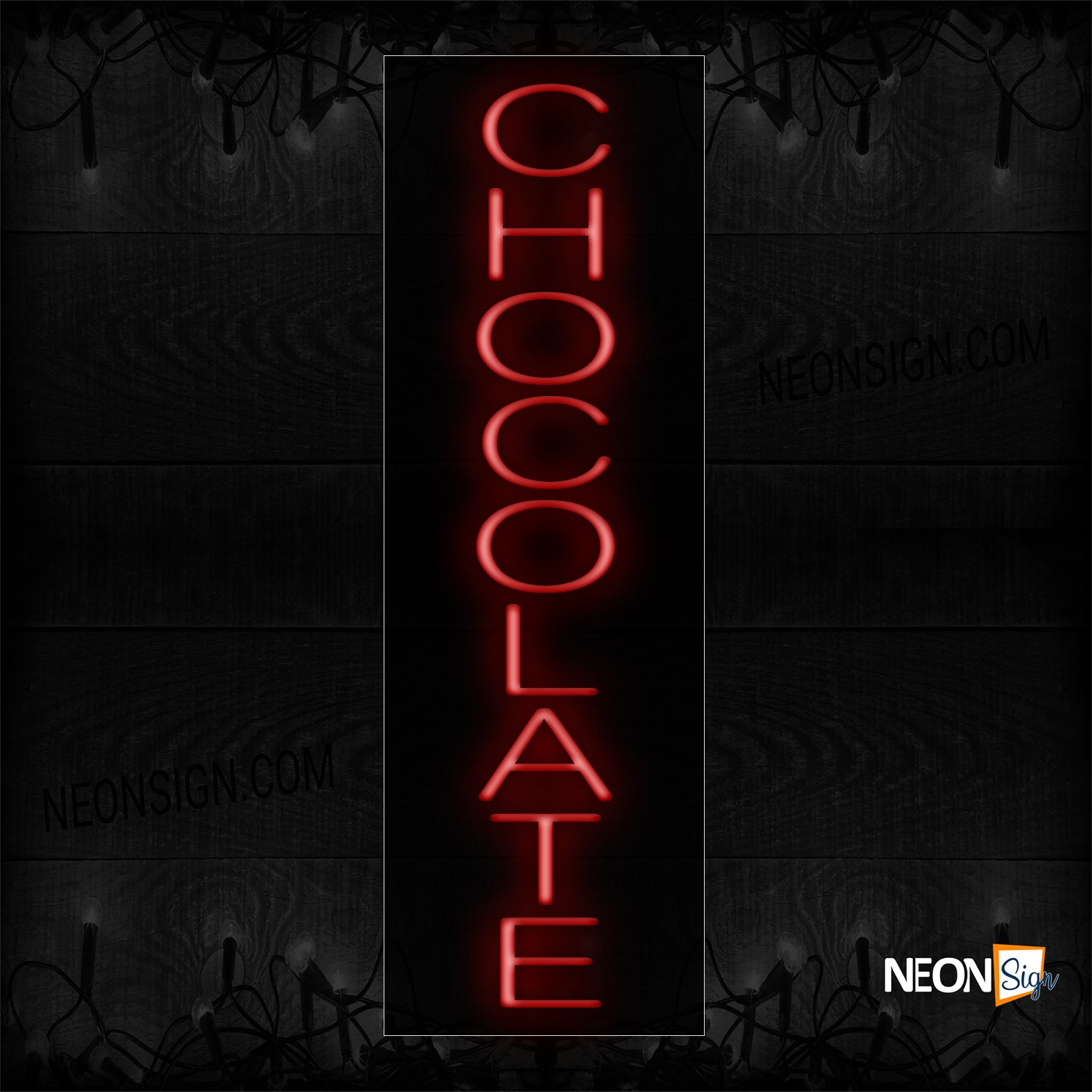 Image of 12422 Chocolate In Red (Vertical) Neon Sign_8x29 Black Backing