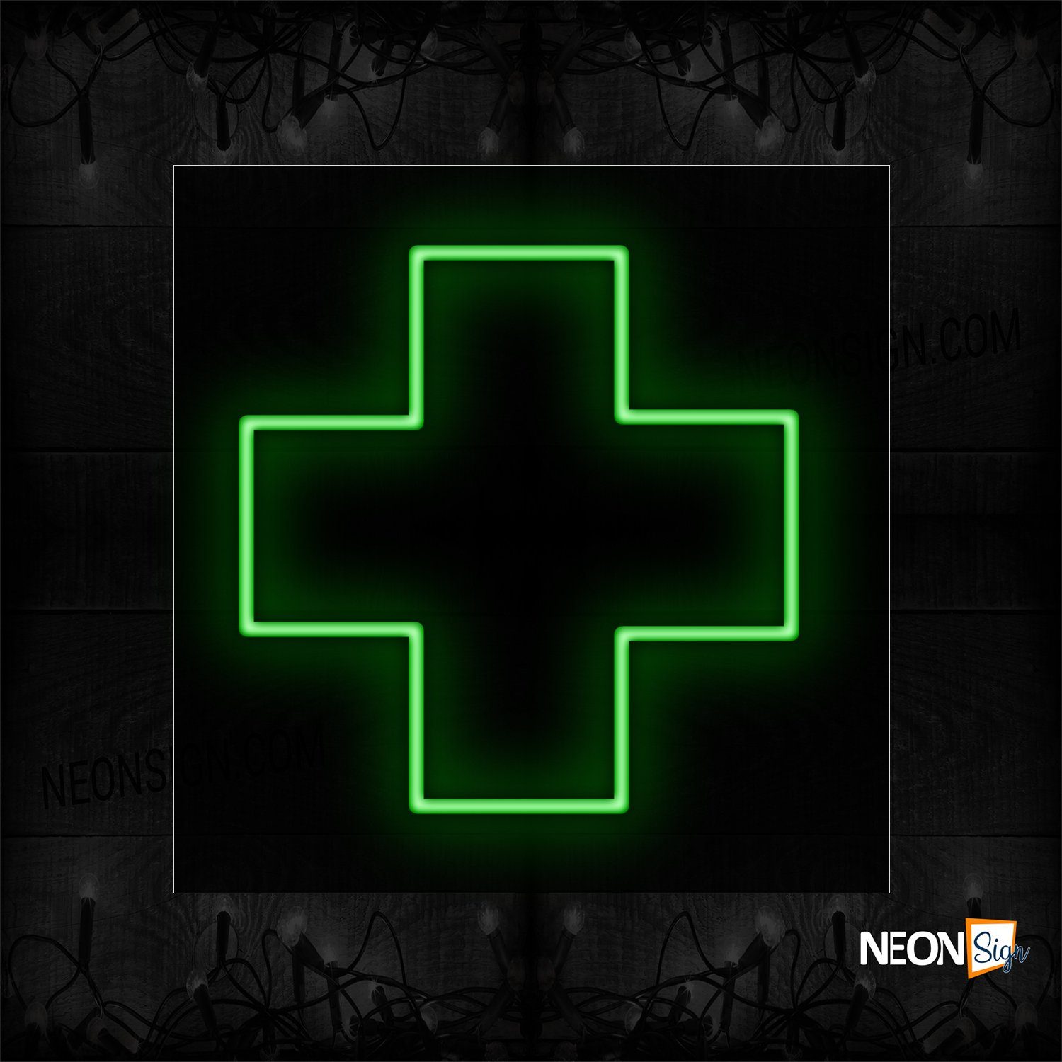 Image of 12426 Green Cross Traditional Neon_17x17 Black Backing