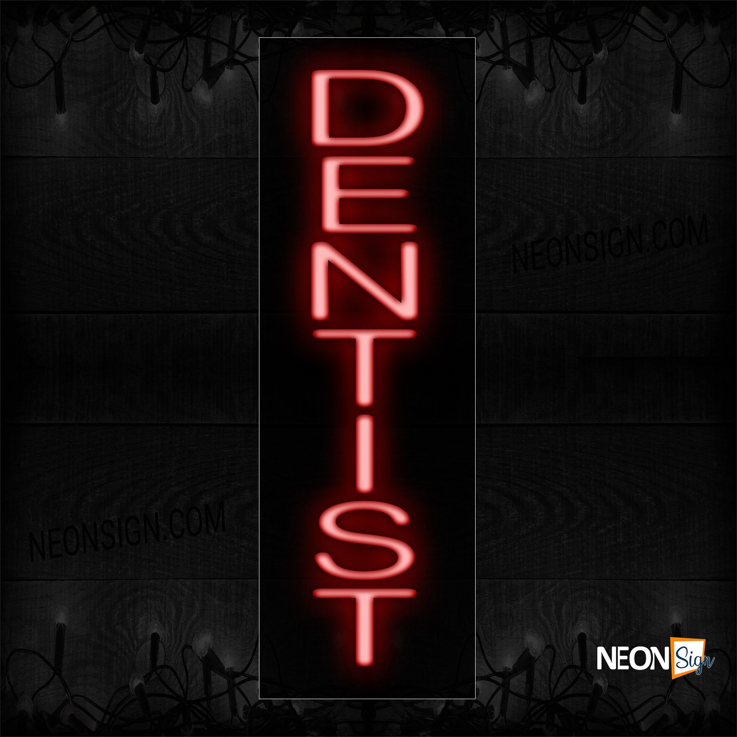 Image of 12428 Dentist In Red (Vertical) Neon Sign_8x27 Black Backing
