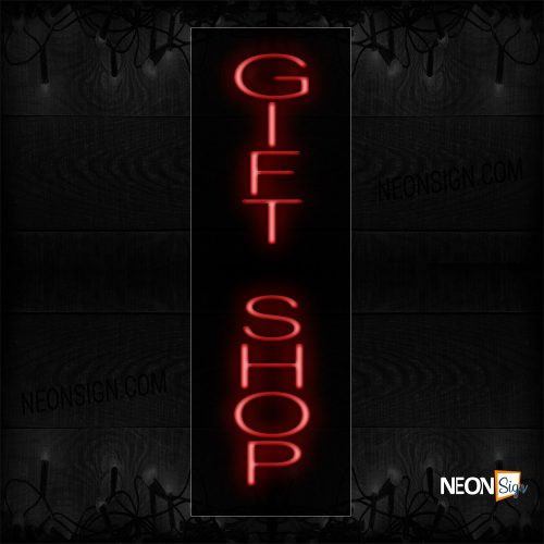 Image of 12436 Gift Shop In Red (Vertical) Neon Sign_8x32 Black Backing