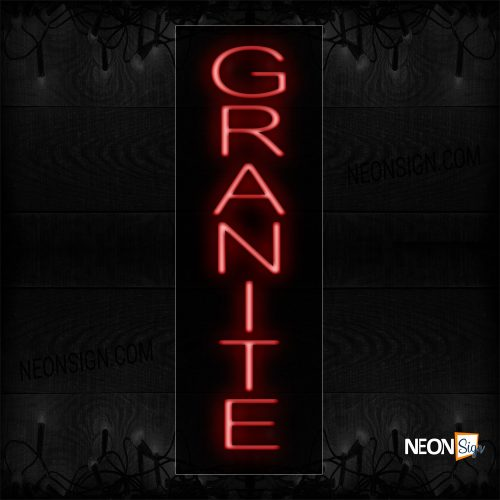 Image of 12438 Granite In Red (Vertical) Neon Sign_8x27 Black Backing