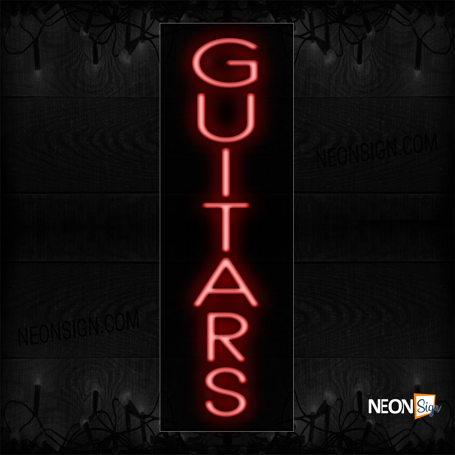 Image of 12439 Guitar In Red (Vertical) Neon Sign_10x27 Black Backing