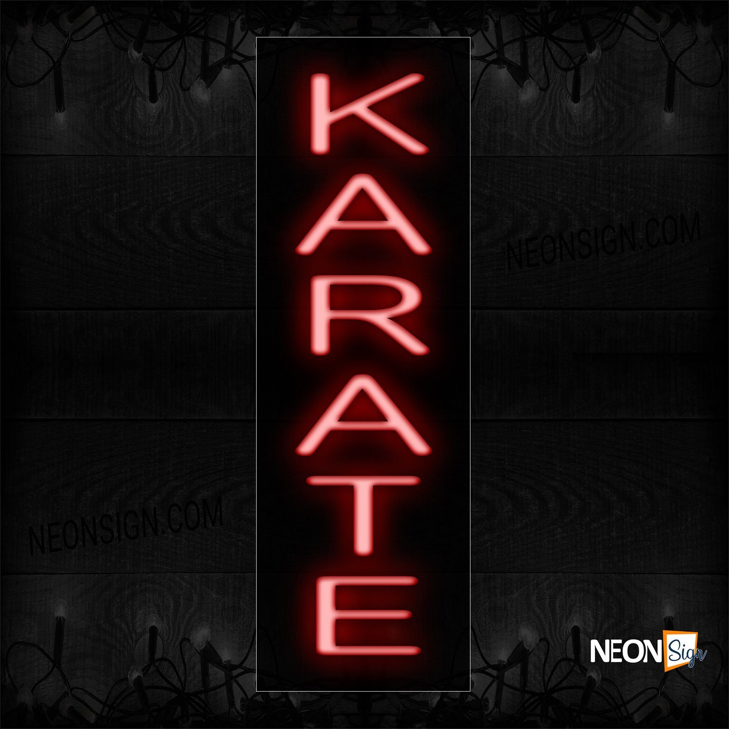 Image of 12445 Karate In Red (Vertical) Neon Sign_8x24 Black Backing