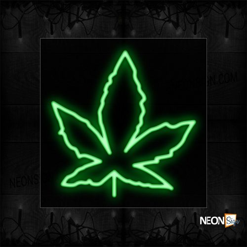 Image of 12448 Canabis logo Neon Sign_17x17 Black Backing