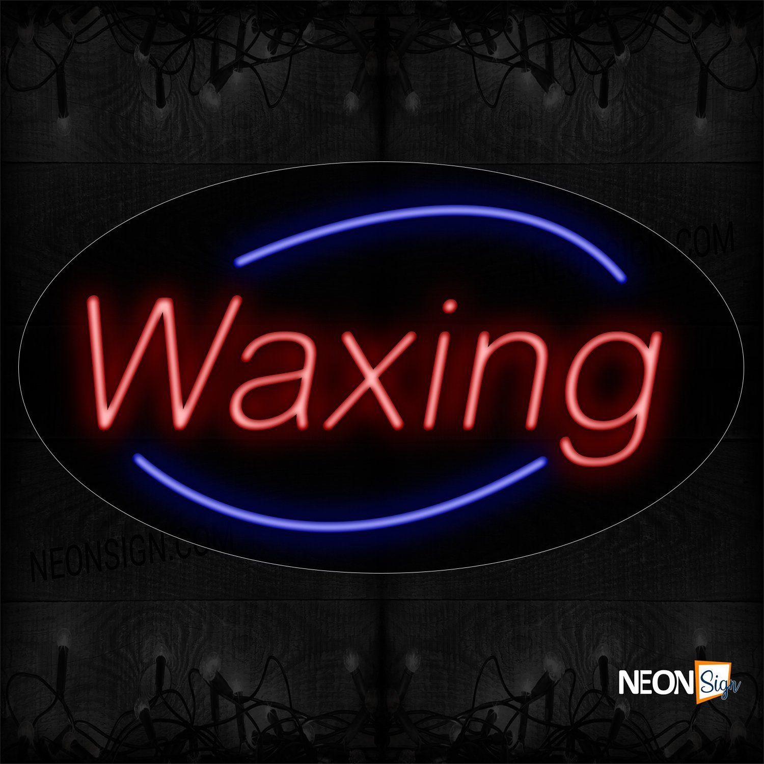 Image of 14016 Waxing In Red With Blue Arc Border Neon Signs_17x30 Black Backing