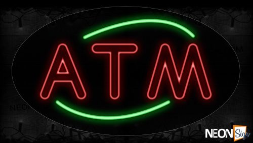 Image of 14019 Atm With Arc Border Neon Signs_17x30 Contoured Black Backing