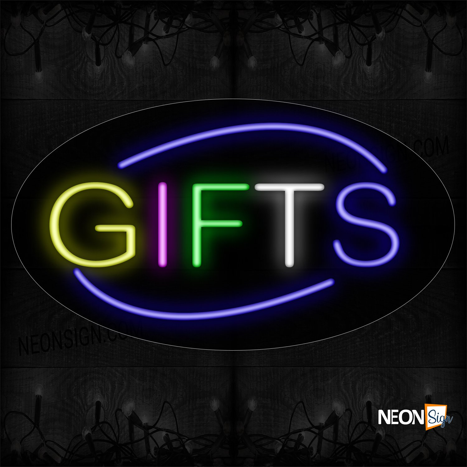 Image of 14045 Colorful Gift With Arc Border Neon Sign_17x30 Contoured Black Backing