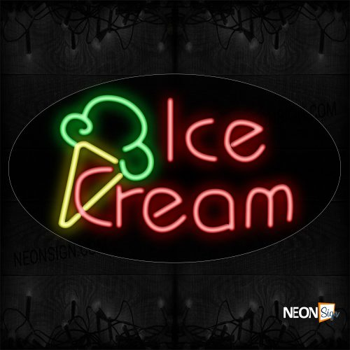 Image of 14048 Ice Cream In Red With Logo Neon Sign_17x30 Contoured Black Backing