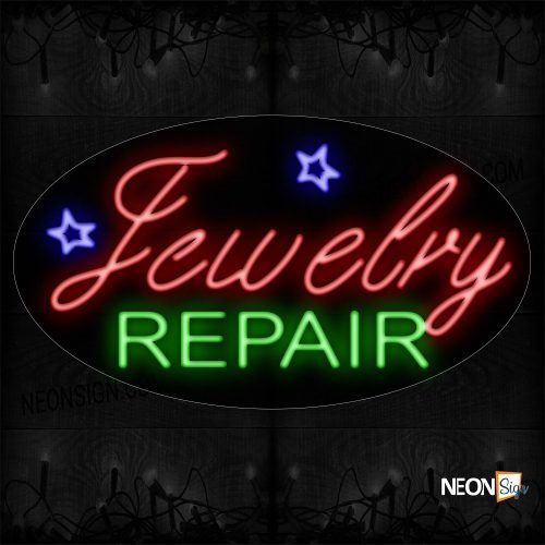 Image of 14052 Jewelry Repair With Star Sign Logo Neon Sign_17x30 Contoured Black Backing