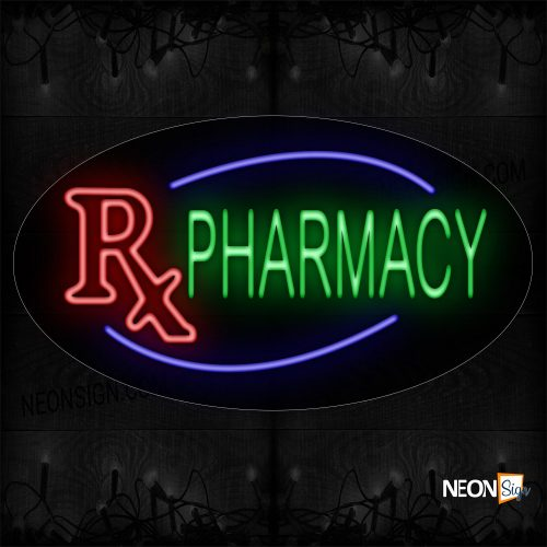 Image of 14064 Rx Pharmacy With Blue Arc Border Neon Sign_17x30 Contoured Black Backing