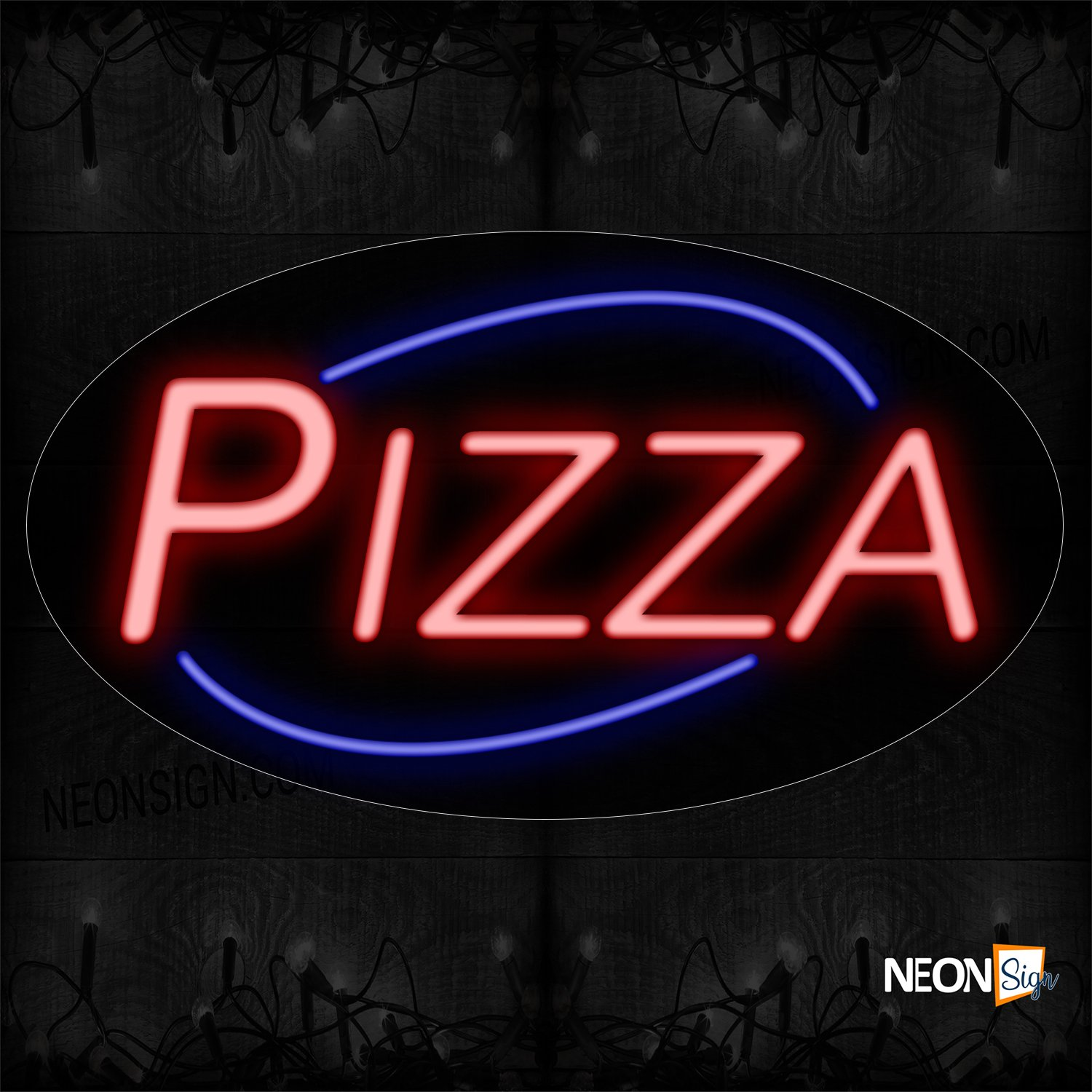 Image of 14068 Pizza In Red With Blue Arc Border Neon Sign_17x30 Contoured Black Backing