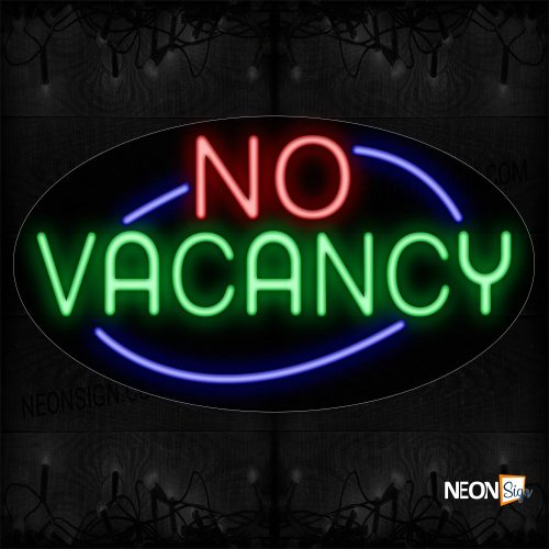 Image of 14084 No Vacancy With Blue Arc Border Neon Sign_17x30 Contoured Black Backing