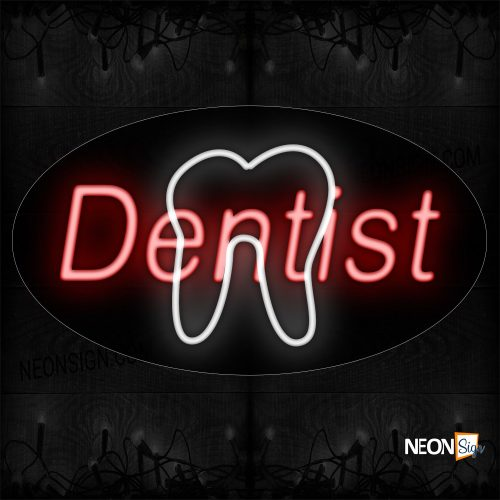 Image of 14099 Dentist With Tooth Sign Neon Sign_17x30 Contoured Black Backing