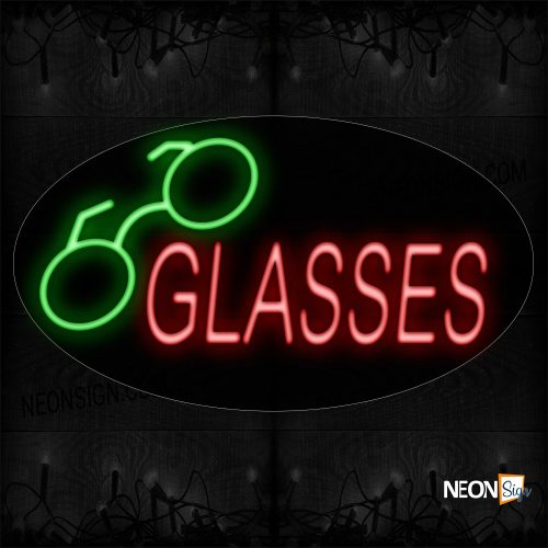 Image of 14104 Glasses With Logo Neon Sign_17x30 Contoured Black Backing