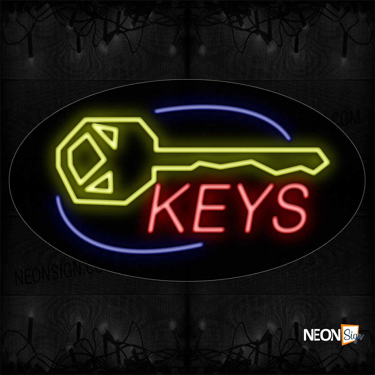 Image of 14111 Keys With Key Logo & Arc Border Neon Sign_17x30 Contoured Black Backing