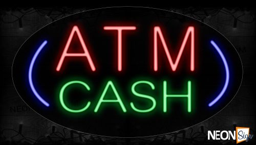 Image of 14141 Atm Cash With Curve Line Neon Signs_17x30 Contoured Black Backing