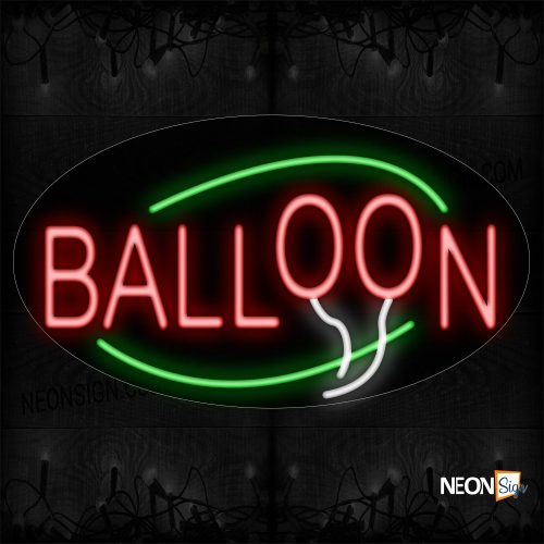 Image of 14148 Balloon With Green Arc Border Neon Sign_17x30 Contoured Black Backing