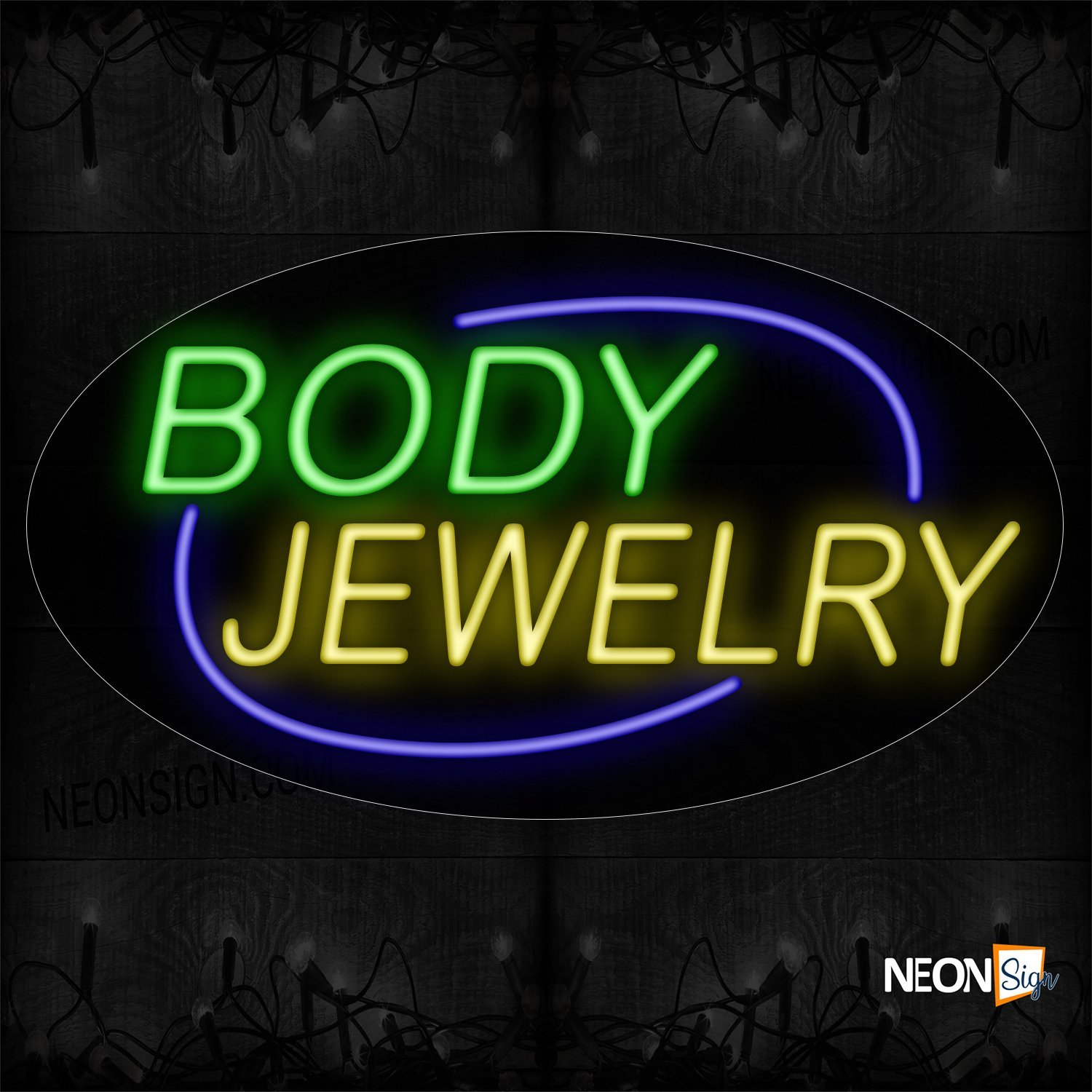 Image of 14155 Body Jewelry With Blue Arc Border Neon Sign_17x30 Contoured Black Backing