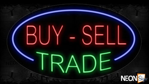 Image of 14166 By-Sell Trace With Blue Oval Border Neon Signs_17x30 Contoured Black Backing