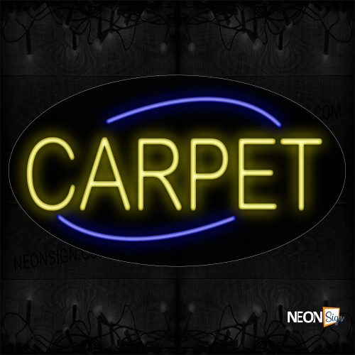 Image of 14171 Carpet In Yellow With Blue Arc Border Neon Sign_17x30 Contoured Black Backing