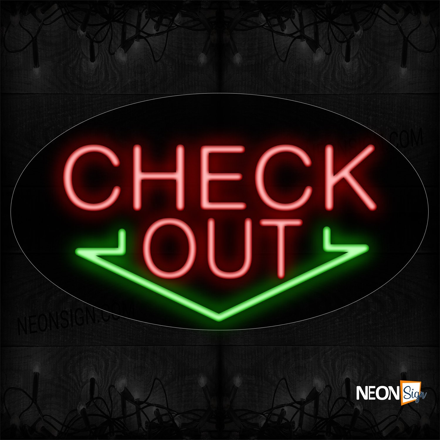 Image of 14175 Check Out In Red With Arrow Down Neon Sign_17x30 Contoured Black Backing