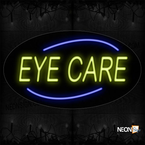 Image of 14203 Eye Care With Arc Border Neon Sign_17x30 Contoured Black Backing