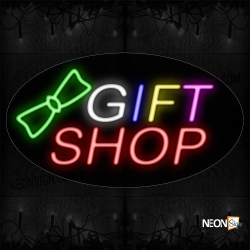 Image of 14211 Gift Shop With Contoured black backing Ribbon Neon Sign_17x30 Contoured Black Backing