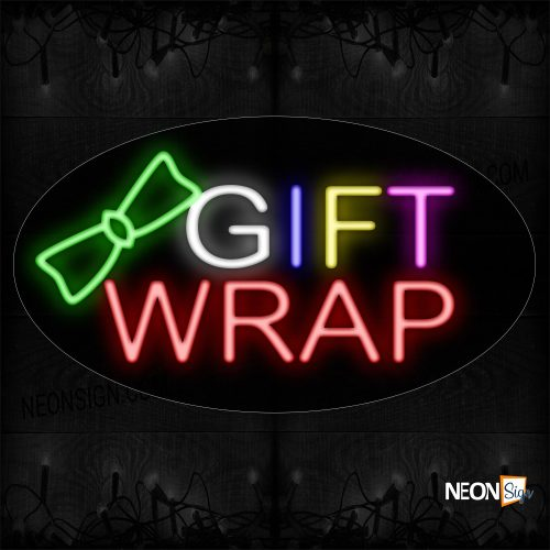 Image of 14212 Gift Wrap With Ribbon Logo Neon Sign_17x30 Contoured Black Backing