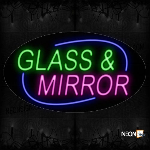 Image of 14216 Glass And Mirrors With Blue Ellipse Traditional Neon_17x30 Contoured Black Backing