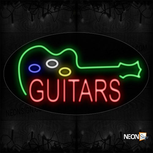 Image of 14217 Guitars with Logo Neon Sign_17x30 Countoured Black Backing