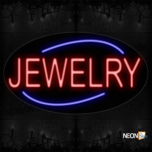 Image of 14227 Red Jewelry Traditional Neon_17x30 Contoured Black Backing