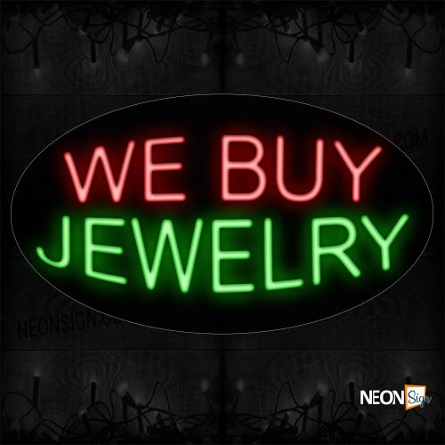 Image of 14229 We BUy Jewelry Neon Sign_17x30 Contoured Black Backing