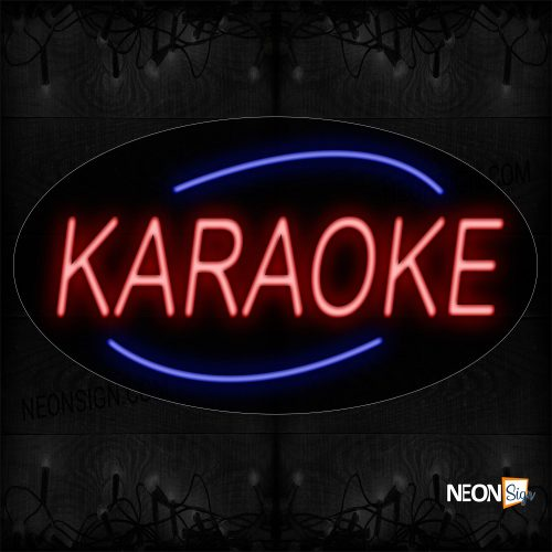 Image of 14232 Karaoke With Arc Border Neon Sign_17x30 Countoured Black Backing