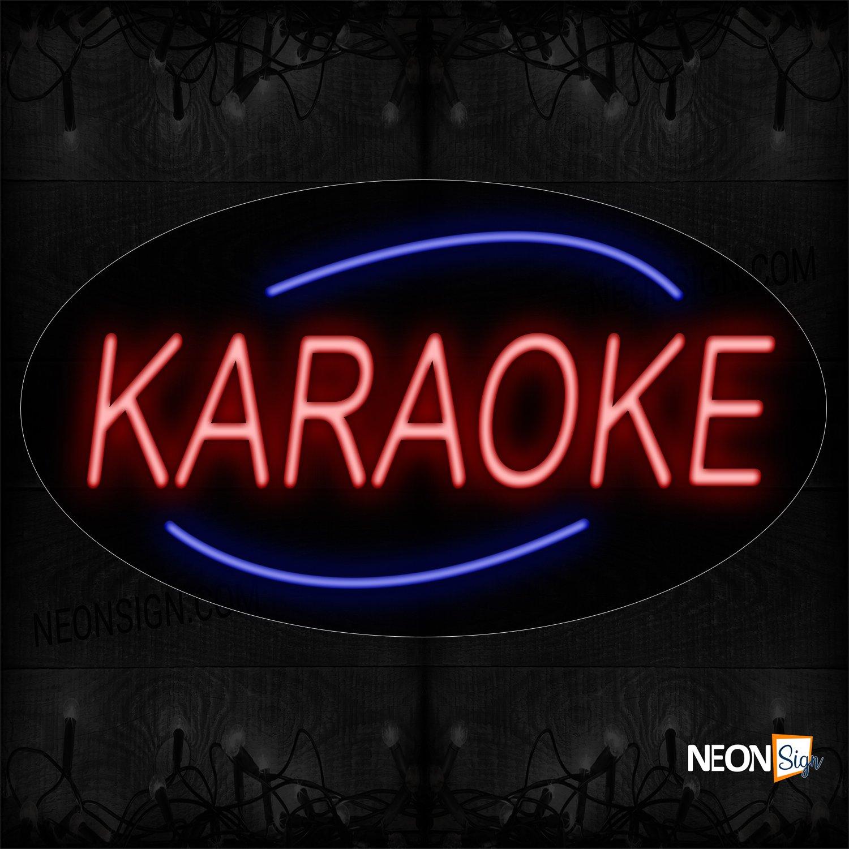 Image of 14232 Karaoke With Arc Border Neon Sign_17x30 Countoured Black Backing