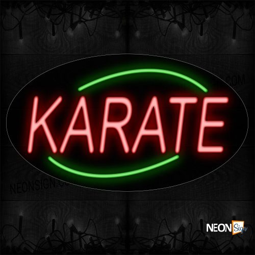 Image of 14233 Karate In Red With Green Arc Border Neon Sign_17x30 Contoured Black Backing