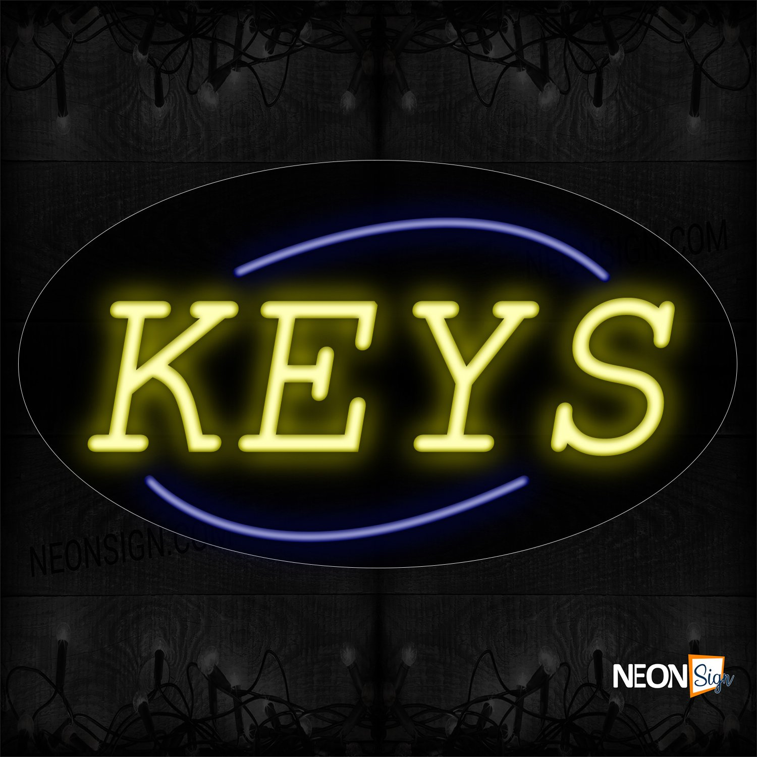 Image of 14234 Keys In Yellow With Blue Arc Border Neon Sign_17x30 Contoured Black Backing