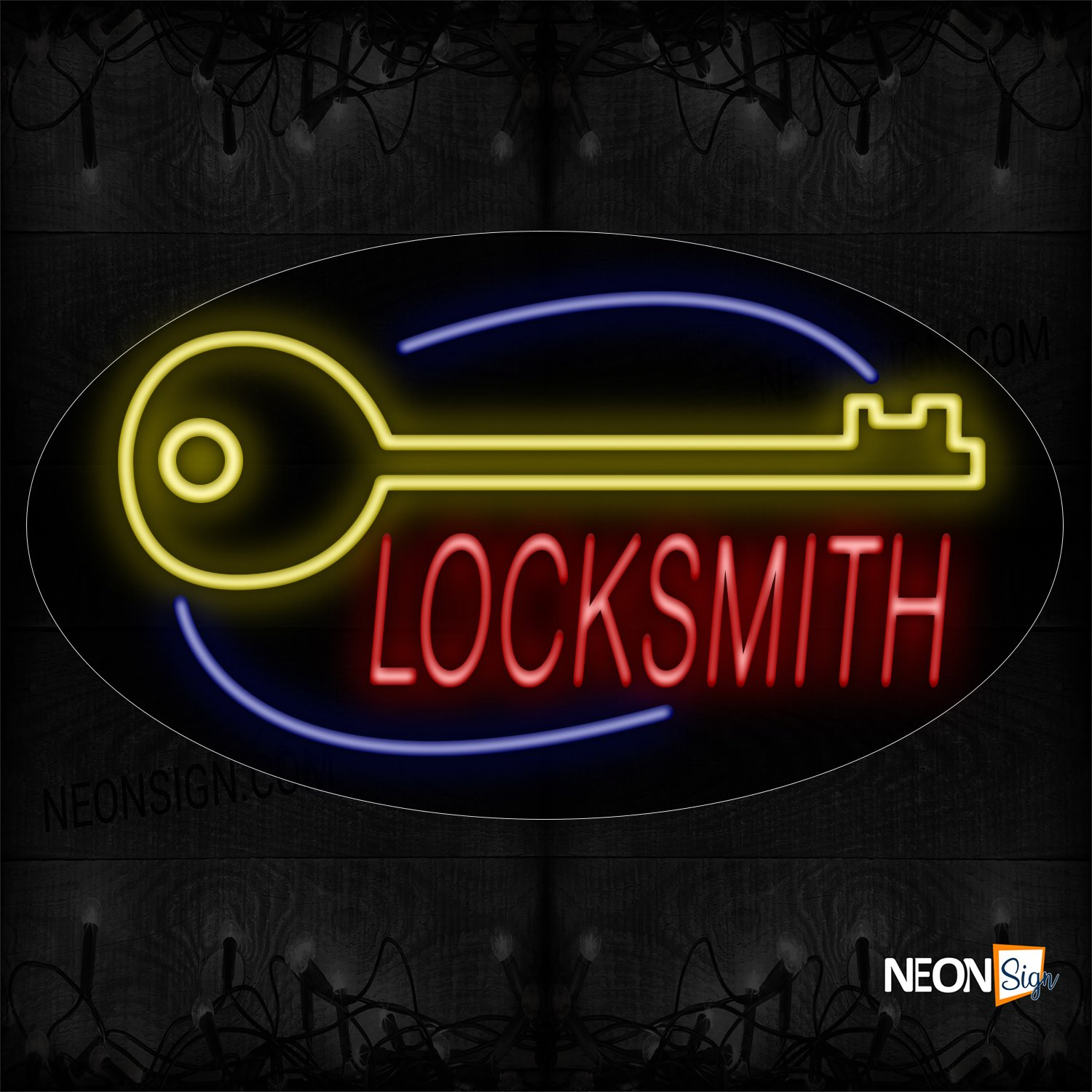 Image of 14240 Locksmith With Key And Curve Line Neon Sign_17x30 Contoured Black Backing