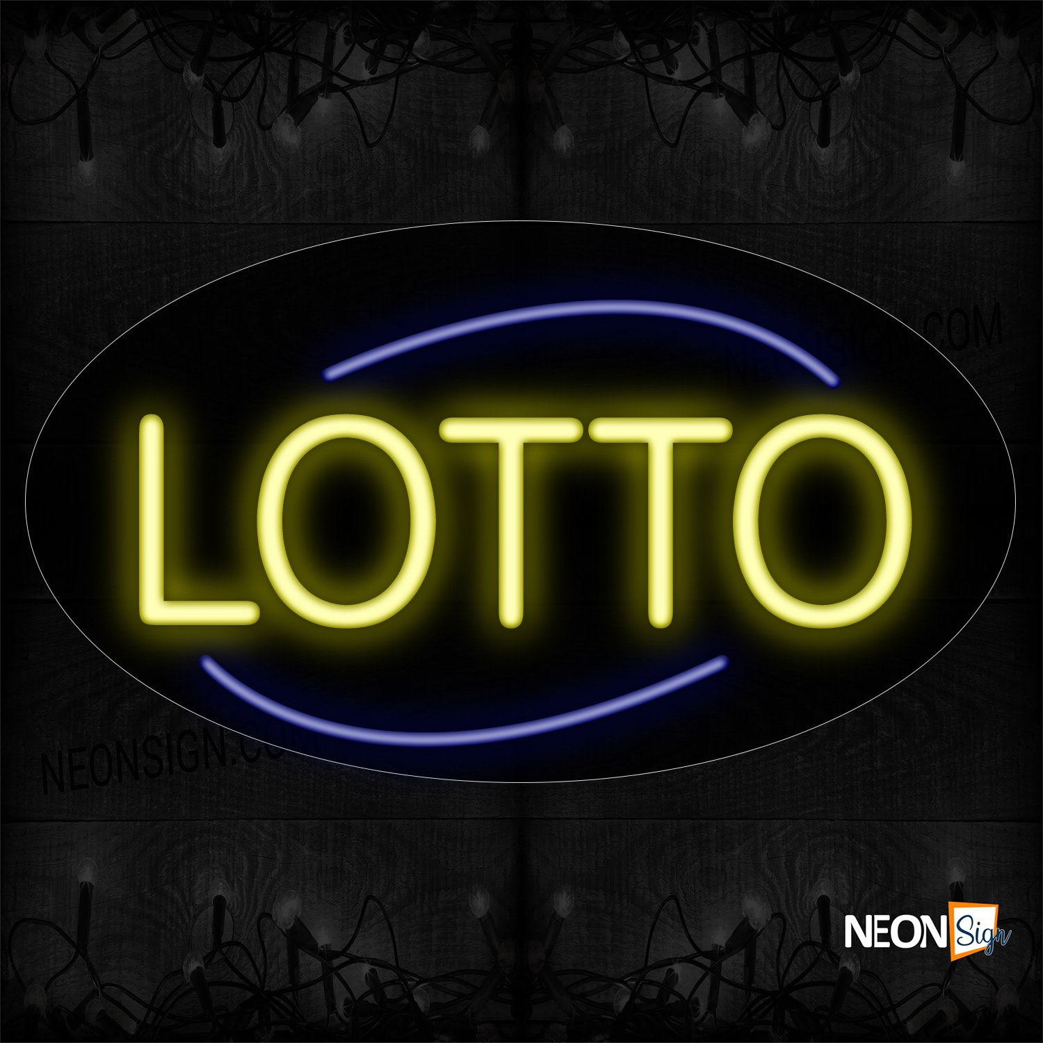 Image of 14241 Lotto With Arc Line Neon Sign_17x30 Contoured Black Backing