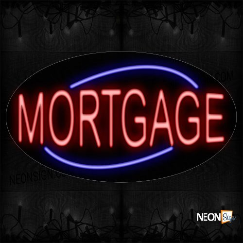 Image of 14250 Mortgage With Curve Line Neon Sign_17x30 Contoured Black Backing