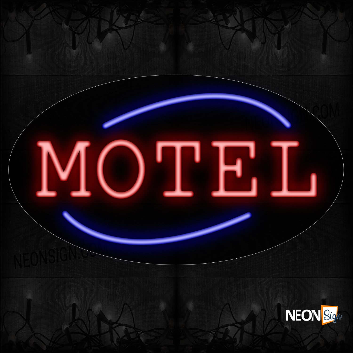 Image of 14251 Motel In Red With Blue Arc Border Neon Sign_17x30 Contoured Black Backing