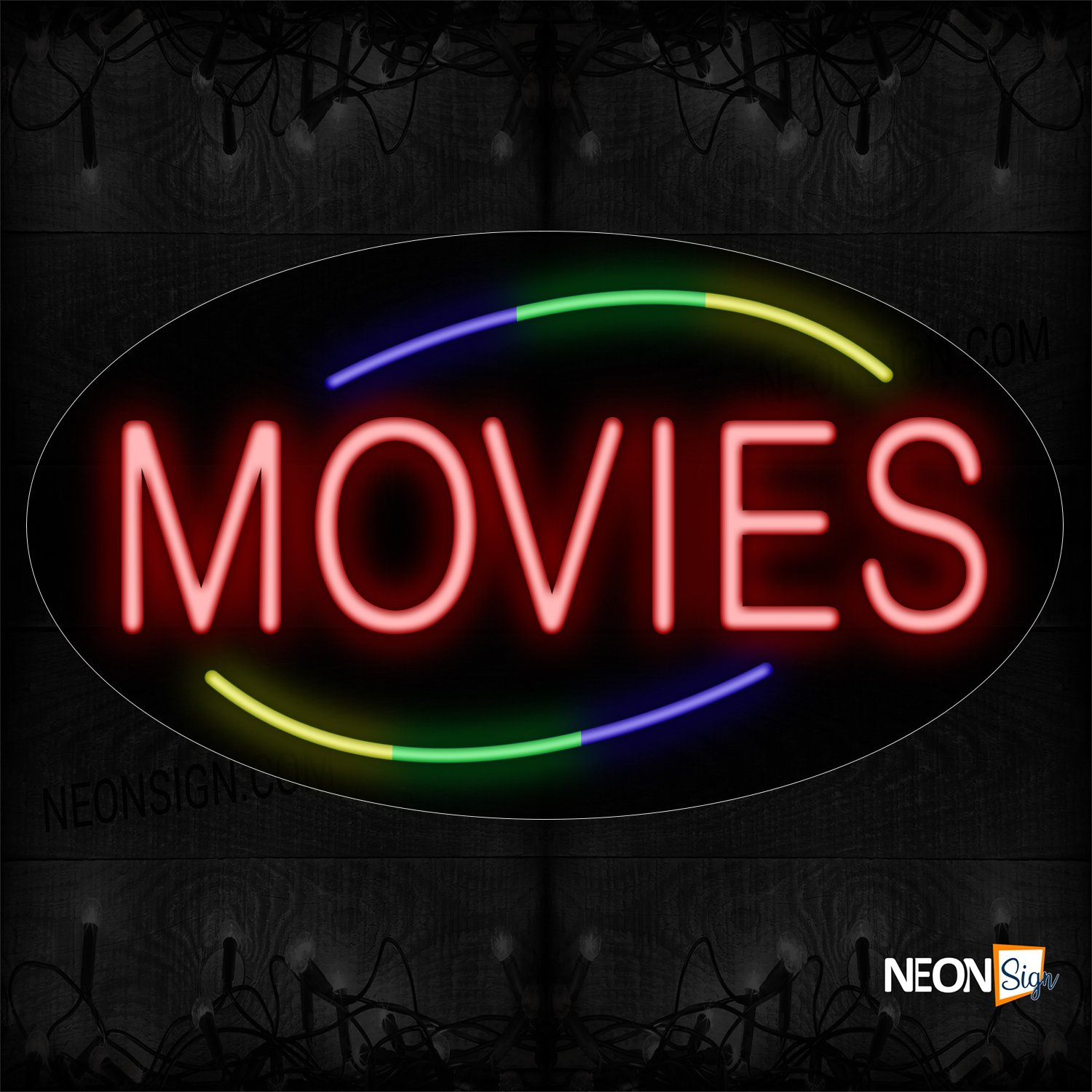 Image of 14252 Movies With Circle Border Neon Sign_17x30 Contoured Black Backing
