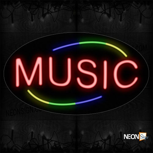 Image of 14254 Music In Red With Colorful Arc Border Neon Sign_17x30 Countoured Black Backing