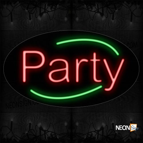 Image of 14265 Party In Red With Green Arc Border Neon Sign_17x30 Contoured Black Backing